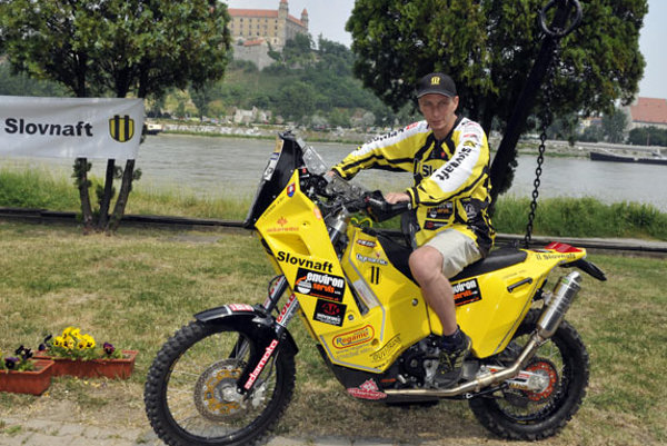 Jaroslav Katriňák on his bike.