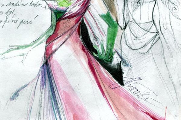 A fashion sketch by Renáta Winkler Hrušovská.