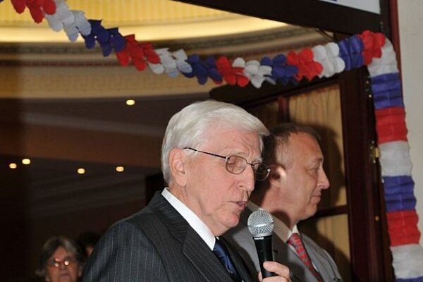 US Ambassador to Slovakia (left) welcomed guests on election night.