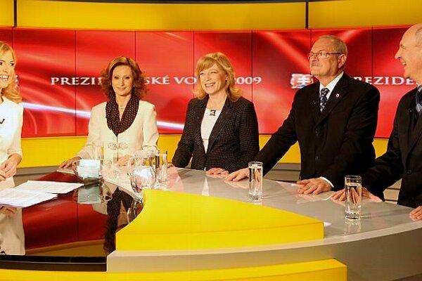 Four of the seven candidates standing in the first round of Slovakia's presidential election on March 21: (from left) Zuzana Martináková, Iveta Radičová, Ivan Gašparovič and František Mikloško.