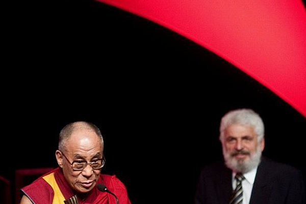 The Dalai Lama and Fedor Gál, accepting their awards.
