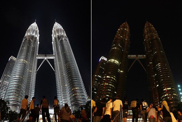 Kuala Lumpur's Twin Towers are dimmed for Earth Hour.