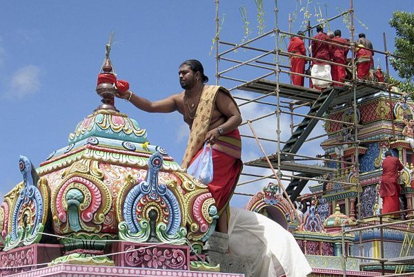 A temple being consecrated on the island of Mauritius.