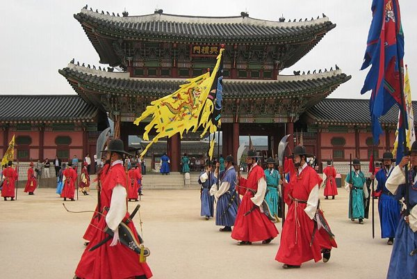 The changing of the guard in front of Gyeongbok Palace in Seoul.