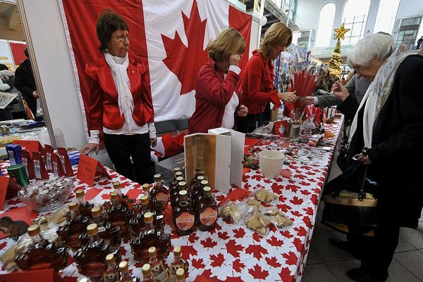 The Canadian kiosk offered Jars of maple syrup at the Christmas Bazaar.