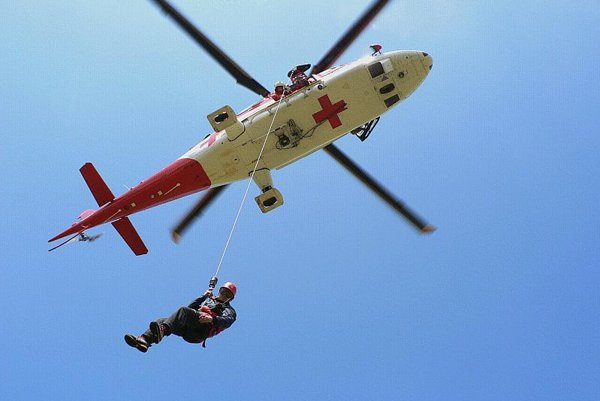 A rescue helicopter in action.