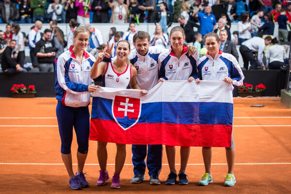 Winning Slovak team (coach in the middle) at FedCup 2016