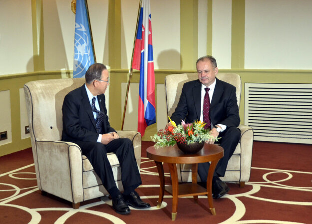 UN Secretary General Ban Ki-moon with Slovak president Andrej Kiska