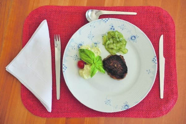 Frikadeller with kartoffelsalat and agurkesalat