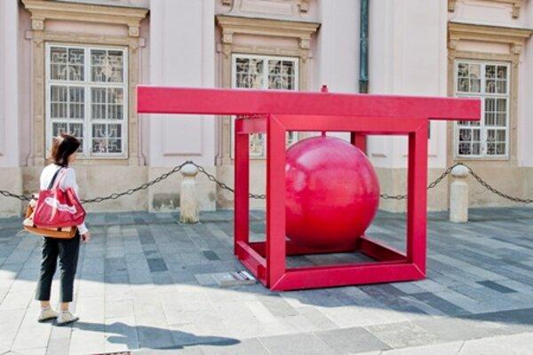 Object by Czech Václav Fiala in front of the Primate's Palace in Bratislava.