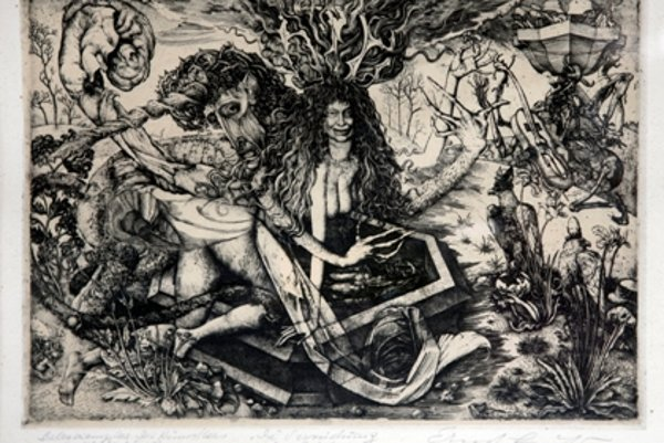 Ernst Fuchs: Die Versuchung des Einhorns / The Temptaiton of a Unicorn, 1952