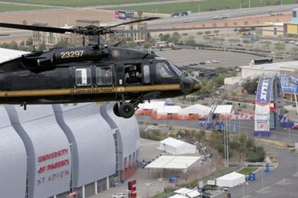 Sikorsky Black Hawk military helicopter cares for security.
