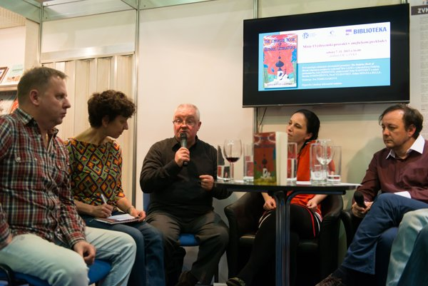 Eric Lane (third from left) and Peter Karpinský (first right) during a discussion at the Bibliotéka book fair.