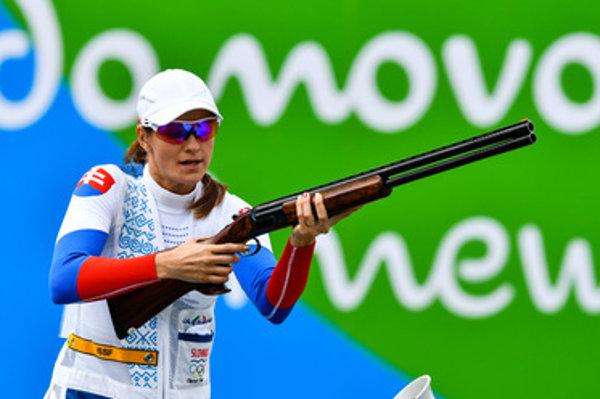 Brteková shoots at Rio Olympics.