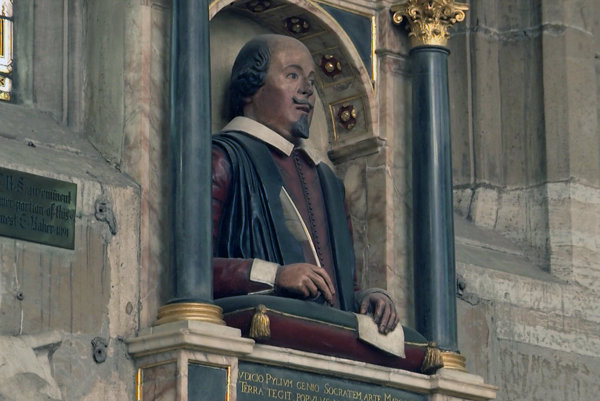 A bust of William Shakespeare which sits above the famous British playwright's grave at Holy Trinity Church in Stratford-upon-Avon, England.