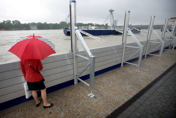 The anti-flood protection in action in Bratislava in 2013.