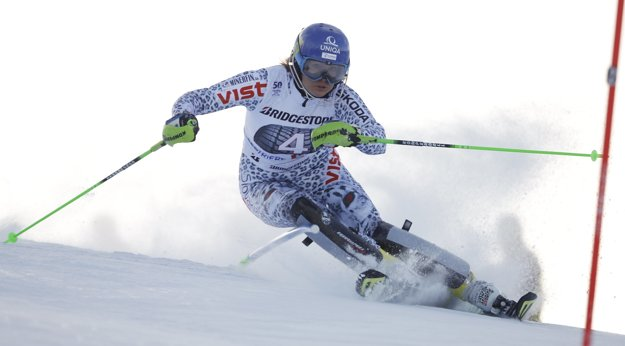 Slovak Veronika Zuzulová in World Cup slalom in Sistriere.