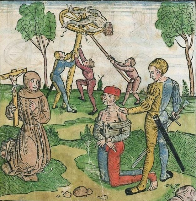A depiction of punishments in the mediaeval justice system.