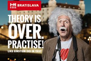 The banner featuring Albert Einstein