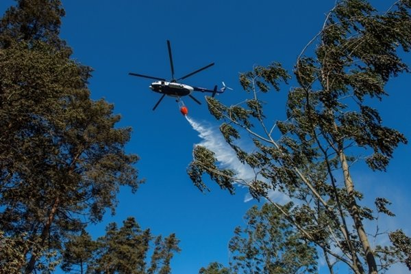Forest fire at Záhorie is being tamed also by helicopter.