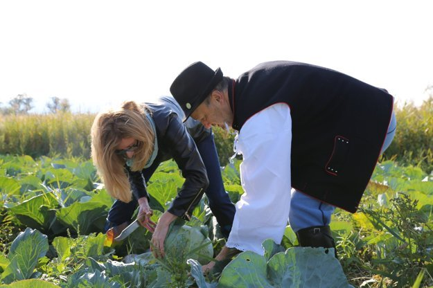 Agriculture Minister Gabriela Matečná helps to select the best cabbage.