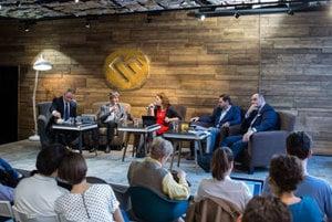 Discussion with Bratislava self-governing region candidates Milan Ftáčnik, Rudolf Kusý, Pavol Frešo and Juraj Droba.