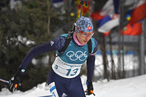Slovak biathlete Anastasia Kuzmina on the track...