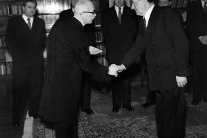 Prime Minister Klement Gottwald (right) swears an oath into the hands of President Edvard Benes on February 27, 1948 at the Prague Castle.