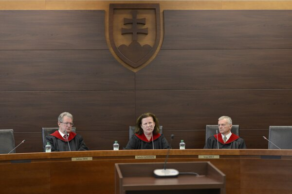 Judges of the second panel of the Constitutional Court: (l-r) Ladislav Orosz, Ľudmila Gajdošíková, and Sergej Kohut