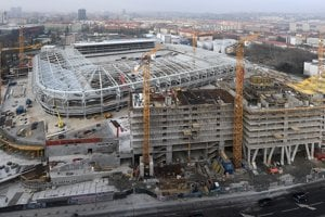 The National Football Stadium under construction