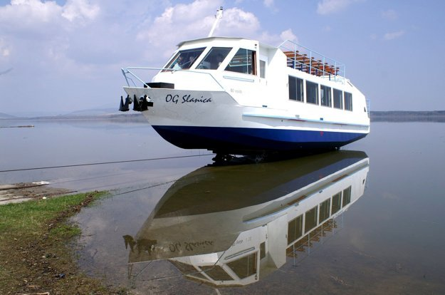 The boat which brings visitors to the Slanica Island on the Orava Dam