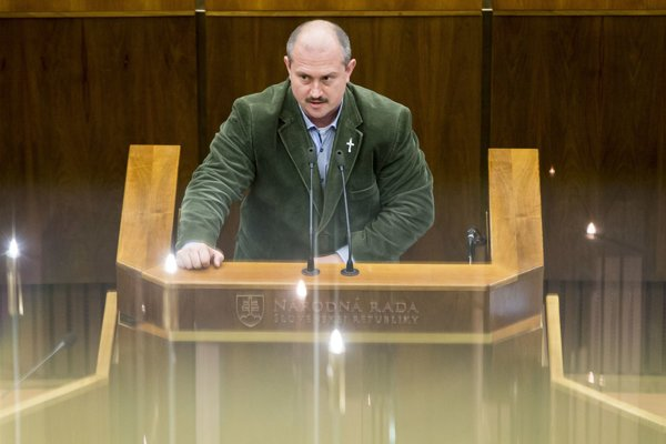 Far-right LSNS leader Marian Kotleba in parliament.