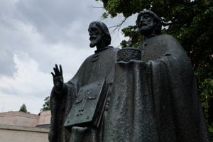 The statue of Ss Cyril and Methodius in Nitra