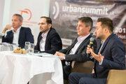The candidates for Bratislava mayor, l-r: Václav Mika, Ján Mrva, Ivo Nesrovnal and Matúš Vallo