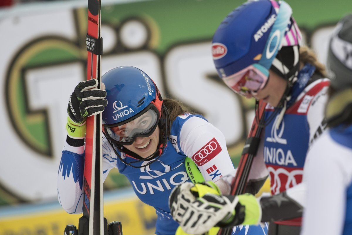 Petra Vlhová (right) beat Mikaela Shiffring in parallel slalom in Oslo. 9337f1b9a43