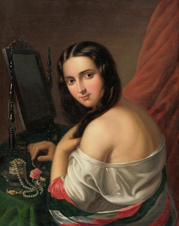 Giacomo Antonio Marastoni: Young Womna in Front of a Mirror. 1830 – 1840 Owned by Bratislava City Gallery