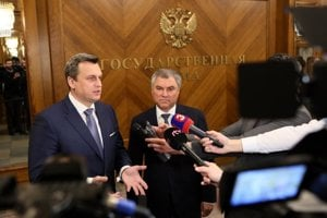Speaker Andrej Danko with Chairman of Russia's State Duma Vyacheslav Volodin in Moscow.