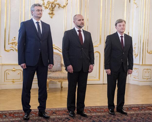 Three new judges of the Constitutional Court l-r: Ivan Fiačan, Ľuboš Szigeti and Peter Molnár