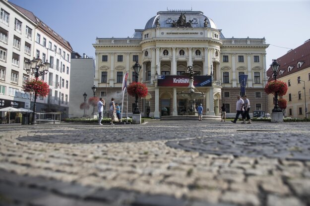 The Historical Building of the Slovak National Theatre on Hviezdoslavovo square
