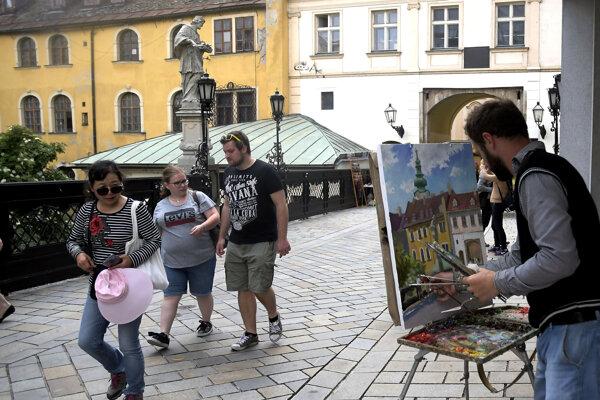 Tourists in Bratislava