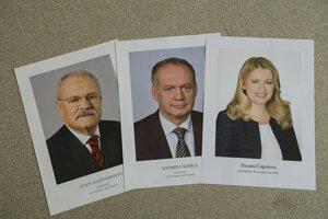 Official portraits of Ivan Gasparovic, Andrej Kiska, and Zuzana Caputova.