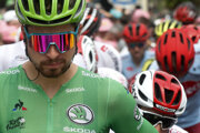 Slovakia's Peter Sagan, wearing the best sprinter's green jersey, starts the 15th stage of the Tour de France.