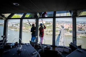 Adrenaline junkies can try skywalking up at the UFO Tower in Bratislava.