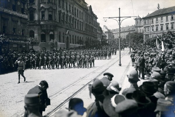 A photo depicting historical events that preceded Bratislava becoming part of Czechoslovakia.