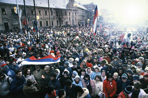 One of the 1989 Velvet Revolution protest gatherings in Bratislava.