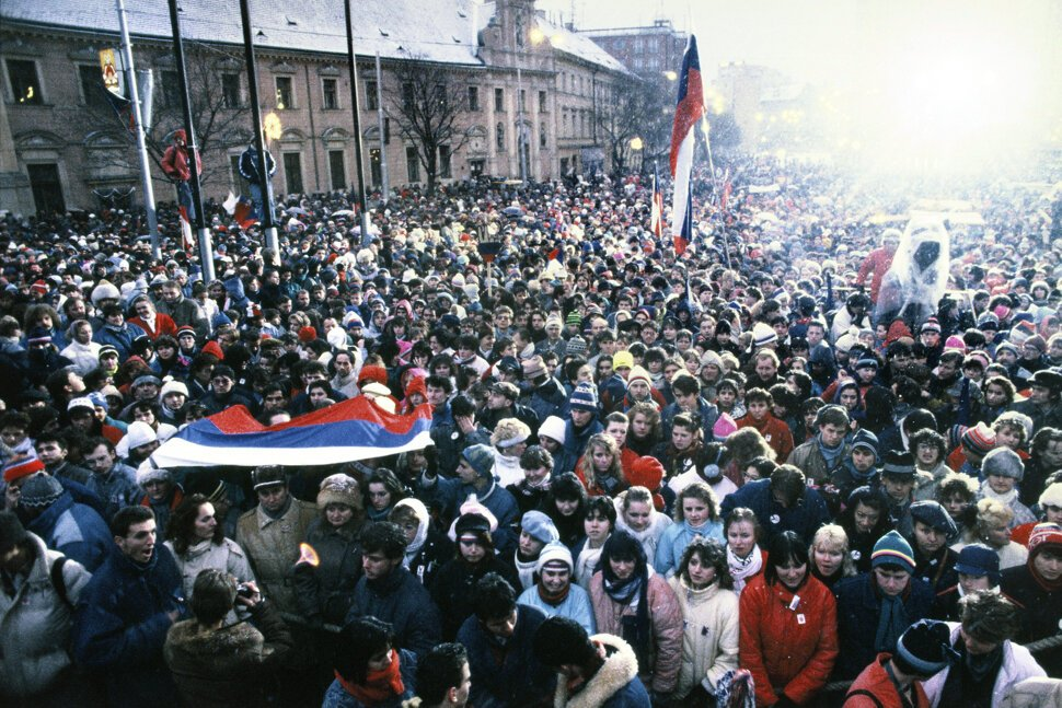 One of the 1989 Velvet Revolution protest gatherings in Bratislava. TASR
