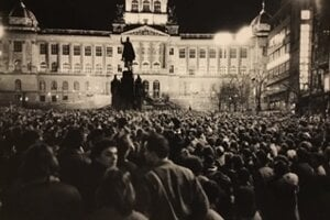 Guimond regularly attended demonstrations in Prague. This one took place in January 1989.