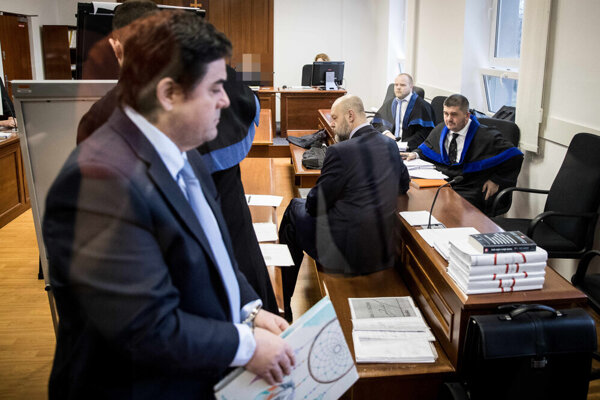 Marian Kočner and Pavol Rusko at the promissory notes trial.