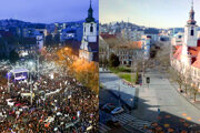SNP Square in Bratislava in March 2018 versus now (March 2020).