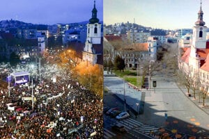 SNP Square in Bratislava in March 2018 versus now (March 2020).